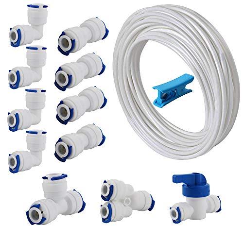 CESFONJER Raccordo Filtro Acqua Ad Osmosi Inversa, 10m Tubi di osmosi inversa -di The Water Filter Men Set Confezione da 20 (Y + T + I + L Tipo Combo + Valvola di intercettazione)
