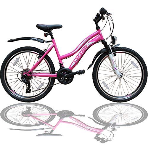 Talson 26 Zoll Mountainbike Mädchen Kinder Fahrrad mit Gabelfederung & Beleuchtung 21-Gang Rosa