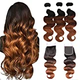 Ombre Human Hair Bundles Ombre Body Wave Bundles Ombre Body Wave Bundles with Closure Ombre Human Hair Bundles With Closure 3 Tone 1b/4/30 (14 16 18+14))