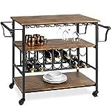 Best Choice Products 45in Industrial Wood Shelf Bar & Wine Storage Service Cart w/Bottle & Glass Racks, Locking Wheels