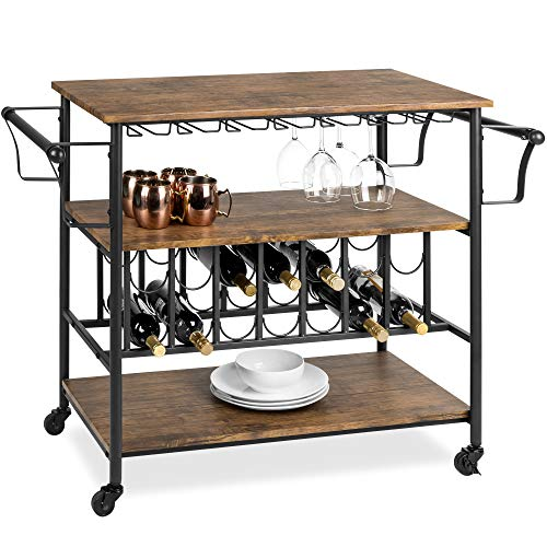 Best Choice Products 45in Industrial Wood Shelf Bar & Wine Storage Service Cart Trolley w/ 14 Bottle & 18 Glass Racks, Locking Caster Wheels