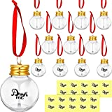 12 Pieces Christmas Booze Balls Christmas Fillable Booze Tree Ornaments Water Bottle Bulbs Shape Clear Plastic Christmas Ornaments Pendant Ball with Stickers for Home Decoration Party Decoration