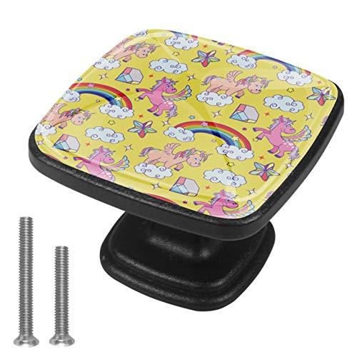 Pomos cuadrados de gabinete 4 piezas para cajones de aparador, armario milagro unicornio mago lindo poni