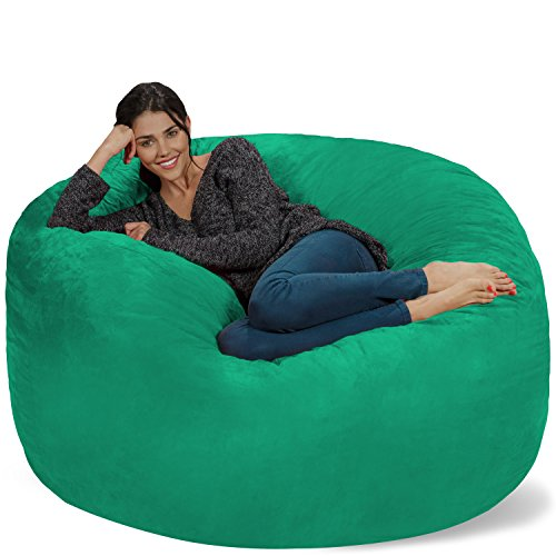 Chill Sack Bean Bag Chair: Giant 5' Memory Foam Furniture Bean Bag - Big Sofa with Soft Micro Fiber Cover - Tide Pool Bags Bean Dining Features Home Kitchen