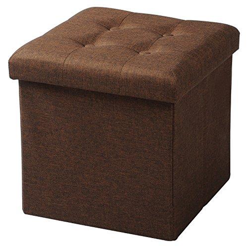 WOLTU Puff Baúl Plegable CuadradoTaburete para Almacenamiento Otomanos Caja de almacenaje con Tapa Reposapiés Sofá 37,5x37,5x38cm Marrón Lino SH06br-1