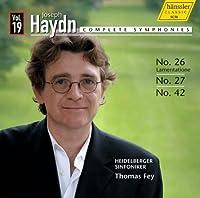 ハイドン : 交響曲全集 VOL.19 (Joseph Haydn : Complete Symphonies Vol.19 ~ No.26 Lamentation , No.27 , No.42 / Heidelberger Sinfoniker , Thomas Fey) [輸入盤]