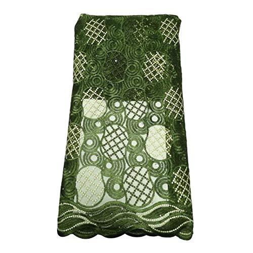 GOUTUIZI Afrikanische Spitze, modische gestickte Polyester Stoff, Spitze Stickerei Stoff, für Brautkleider,Grün