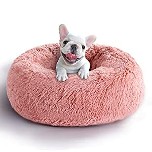 COHOME Soft Dog Bed Comfortable Orthopedic Donut Cuddler Round Dog Bed Premium Faux Plush Fur 3D PP Cotton Self Warming Anti-Anxiety Dog Cushion for Dog & Cat,Non-Slip Bottom,Washable