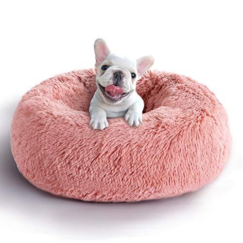 COHOME Soft Dog Bed Comfortable Orthopedic Donut Cuddler Round Dog Bed Premium Faux Plush Fur Self Warming Anti-Anxiety Dog Cushion for Dog & Cat,Non-Slip Bottom,Washable - Pink 30X30