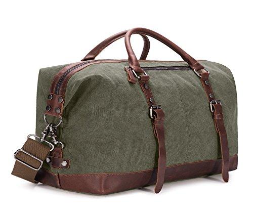 BAOSHA Oversized Canvas PU Leather Travel Tote Duffel Bag Weekender Overnight Bag (Army Green)