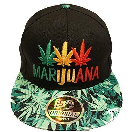 Gorra con visera plana de King Ice, con diseño de plantas de marihuana, unisex