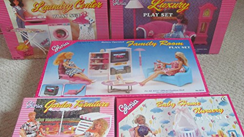gloria Dollhouse Furniture : 5 Sets Family Room, Living Room, Laundry Room , Baby Room Garden for Barbie Dolls