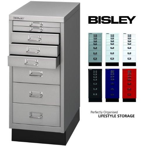 BISLEY Schubladenschrank 29 aus Metall | Schrank mit 8 Schubladen und Sockel | Büroschrank DIN A4 | Werkzeugschrank | Metallschrank in 6 Farben (Silber)