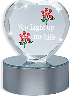 BANBERRY DESIGNS You Light up My Life LED Lighted Heart Gift - Color Changing Light Base with Glass Heart Decoration - Gifts for Her