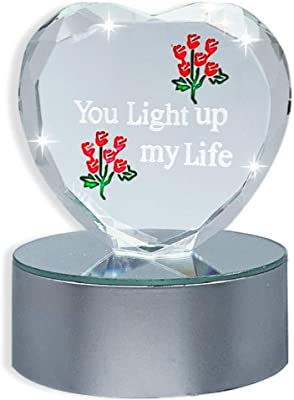 Thinking of You Gifts - Lighted Glass Heart on LED Color Changing Base - Red Roses Etched into the Glass - Girlfriend - Wife - Mom - Finance