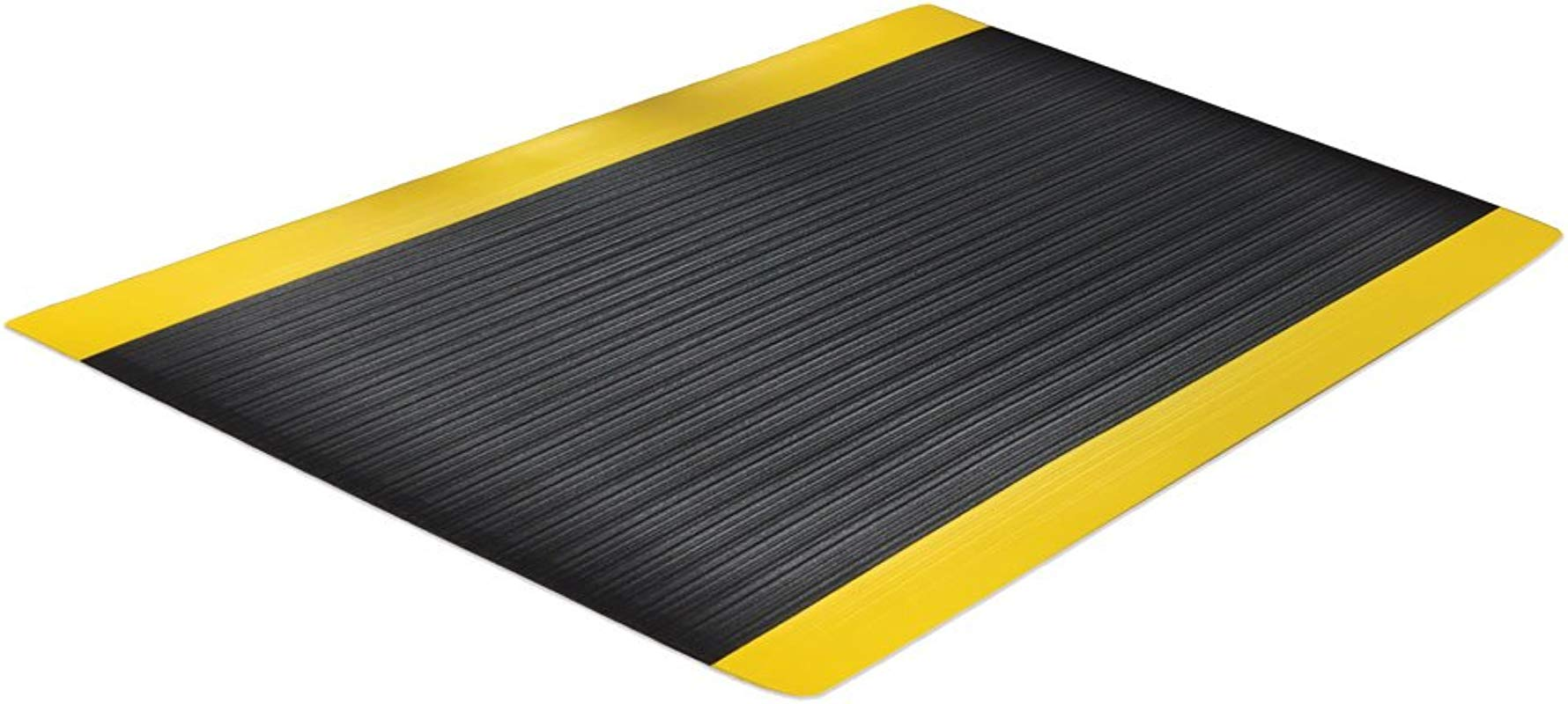 Comfort Step 3 8 Anti Fatigue Mat With Ribbed Emboss Black With Yellow Border 3 X 5