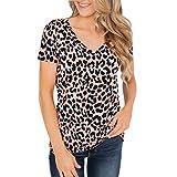 Qingsiy Camiseta Mujeres Verano Camisetas Leopardo Suelta Pullover Casual Camisa Manga Corta Cuello V Flojas Atractiva Blusa Sólido Tops Redondo Casual Tops (Rosa,L)