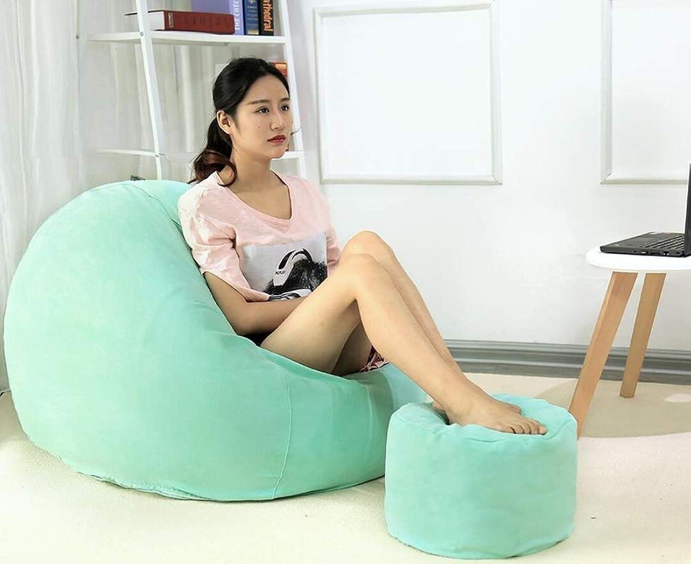 歴史家真似る揃えるLWT チェア ビーンバッグ怠惰なソファシングル畳綿とリネン席寝室のリビングルームクリエイティブファッション背もたれソファ様々なスタイル取り外し可能と洗える (Color : Mint green, Size : L)