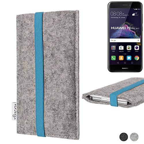flat.design Handy Hülle Coimbra für Huawei P8 Lite 2017 Dual SIM - Schutz Hülle Tasche Filz Made in Germany hellgrau türkis