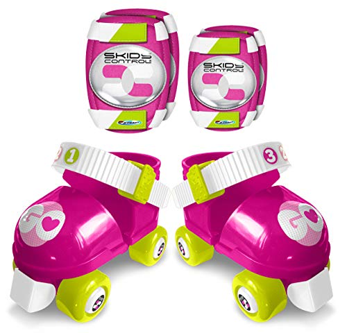 Set Rollers + E/K Pads Pink Skids Control, Taille 23-27