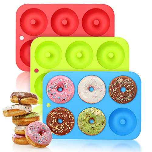 BiaoGan Large Donut Pans, 3 Packs Non-Stick Silicone Donut Mold, Silicone Donut Baking Pans for 6 Full-Size Donuts, BPA Free and Dishwasher Safe Perfect for 3 Inch Doughnuts and Bagels