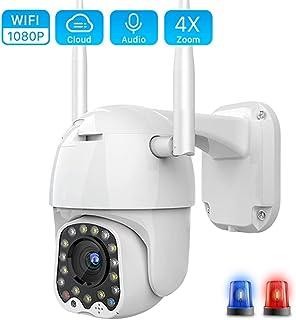 1080p WiFi Cámara IP al Aire Libre 2mp Auto Tracking Home Security 4X Digital Zoom Speed Dome Camera Siren Light 155 * 100 * 110mm Tarjeta SD 1080P NO SD