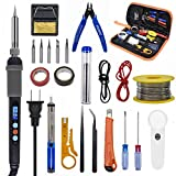 Soldering Iron Kit, 60W Digital LCD Solder Gun Adjustable Temperature Welding Tool with ON/OFF Switch, 5pcs Soldering Tips, Desoldering Pump, 23pcs Solder Kit for Electrician