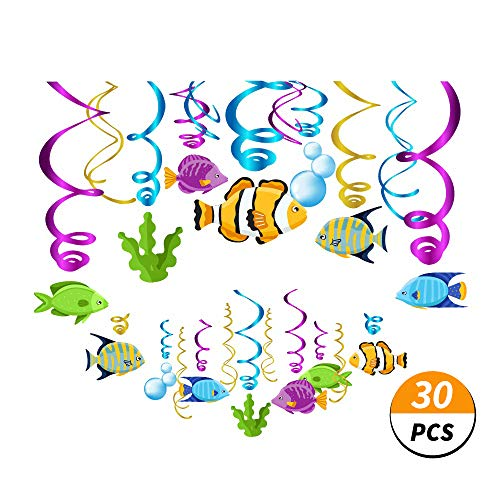 Kristin Paradise 30Ct Tropical Fish Hanging Swirl Decorations, Under The Sea Party Supplies, Ocean Birthday Theme, Fishing Kids Decor for First 1st Boys Girls Baby Shower, Fishing Fisherman Favors