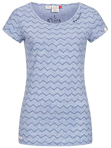 Ragwear Damen Mint Chevron T-Shirt Rundhals, Frauen Shirt,Oberteil,Kurzarm,Rundausschnitt,Regular Fit,Blau,XS