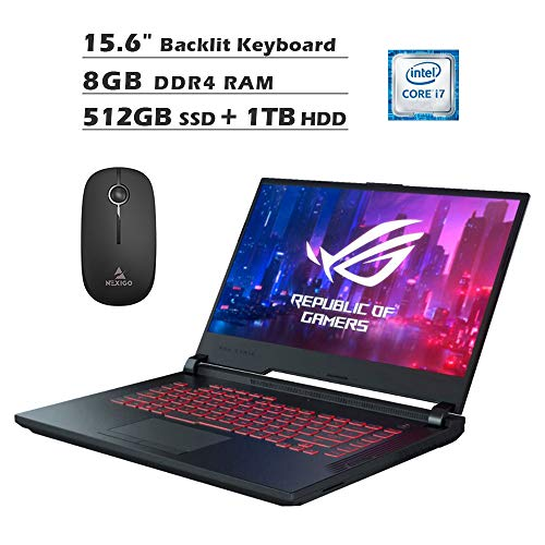 2020 Asus ROG Strix G 15.6 Inch FHD 1080P Gaming Laptop, Intel 6-Core i7-9750H up to 4.5GHz, GTX 1650 4GB, 8GB DDR4 RAM, 512GB SSD (Boot) + 1TB HDD, Backlit KB, Win10 + NexiGo Wireless Mouse Bundle