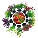 Goodn 10 plantas artificiales de plástico para decoración de acuario de peceras (estilo 4)