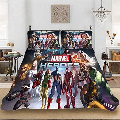 Dcwe Juego de ropa de cama con 1 funda de edredón y 1/2 fundas de almohada, diseño de superhéroes de Marvel Los Vengadores Endgame, para niños y adultos, de microfibra, 6, 220 x 240 cm