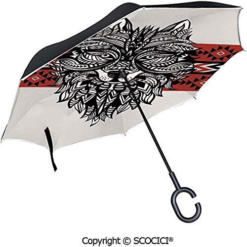 Reverse Inverted Inside Out Umbrella - Blühende Cartoon Blumen und Tier Maskottchen Luftballons Fliegen Spielerisch Clip Art Reversible