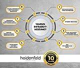 Heidenfeld Infrarotheizung HF-HP100 800 Watt Weiß - inkl. Thermostat - 10 Jahre Garantie - Deutsche Qualitätsmarke - TÜV GS - Für 12-19 m² Räume (HF-HP100 800 Watt) - 7