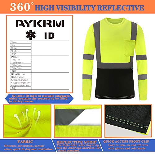 AYKRM Safety T Shirt Reflective High Visibility hi vis Long Sleeve T Shirt (Yellow, M)