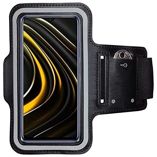 CoverKingz Brazalete deportivo para Xiaomi Poco M3 – Brazalete con compartimento para llaves Poco M3 – Brazalete deportivo para móvil móvil Negro