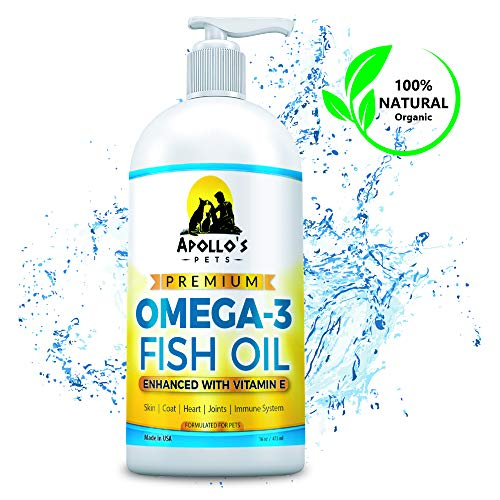 Apollos Pets Omega 3 Fish Oil for Dogs - Omega 3 for Dogs Plus Vitamin E - More EPA and DHA Than Salmon Oil - Treats Shedding, Itchy Skin, Allergies, and Joints - Made in USA 16 Ounce Liquid Pump