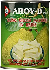 Aroy-d young green jackfruit in brine (ka noon), each can weighs 20 ounces Comes in a pack of 6 cans, total 120 ounces Commonly used in south and southeast Asian cuisines Ingredients: young green jackfruit (50 percent), water, salt, citric acid (e330...