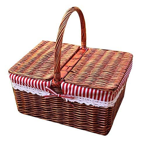 ZAIHW Großer Picknickkorb mit Deckel |Wicker Picknickkorb |Weidenkorb Set |Camping Picknick Tisch Set Streifen