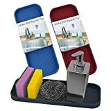Kamehame Kitchen Sink Organizer Tray, 3-Pack Silicone Sponge Holder, 9 x 3 Inch for Sponge, Scrubber, Soap, Anti-Slip, Waterproof and Heat Resistant Mats