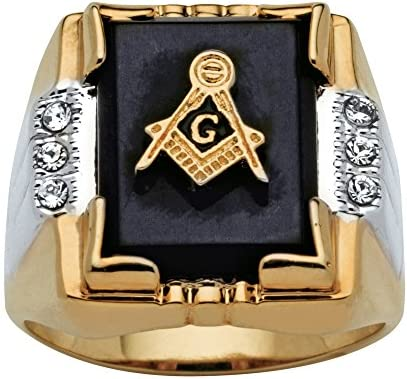 Palm Beach Jewelry Men s 14K Yellow Gold Plated Rectangular Shaped Natural Black Onyx and Round product image