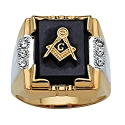 14K Yellow Gold Plated Natural Black Onyx & Round Crystal Ring