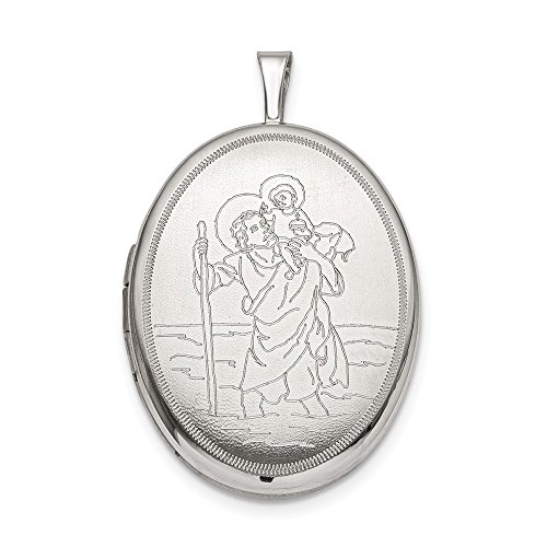 FB Jewels Solid Sterling Silver 20mm St. Christopher Oval Locket