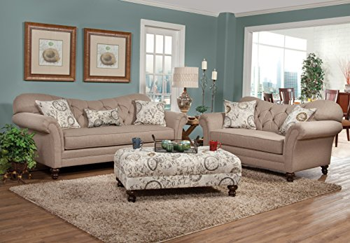 Roundhill Furniture Sofa Loveseat set, Taupe