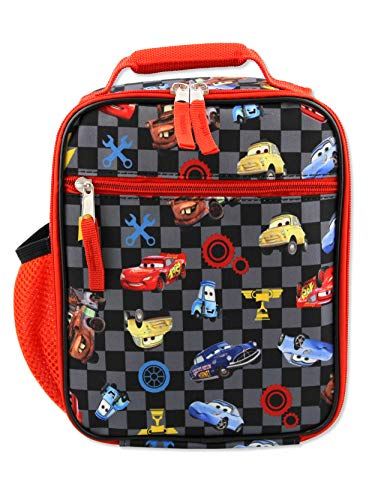 Disney Cars Lightning McQueen Boys Soft Insulated School Lunch Box (One Size, Black/Red)