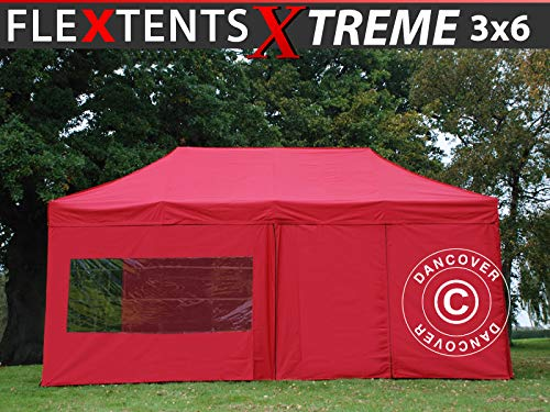 Dancover Vouwtent/Easy up tent FleXtents Xtreme 60 3x6m Rood, inkl. 6 Zijwanden