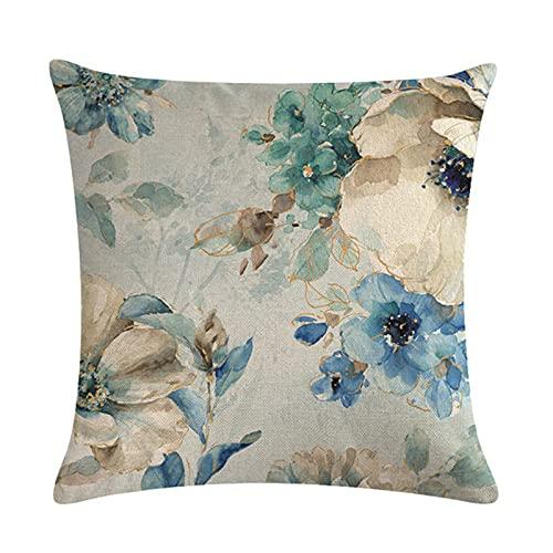 Funda De Almohada Decorativa De Flor Azul, Material De Lino, Varios Patrones, Funda De Almohada, Adecuada para Cojines De Asiento De Sofá Y Dormitorio