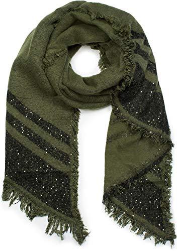 styleBREAKER Damen XXL Schal mit Streifen, Pailletten und Fransen, Winter Strickschal, Stola 01017096, Farbe:Oliv
