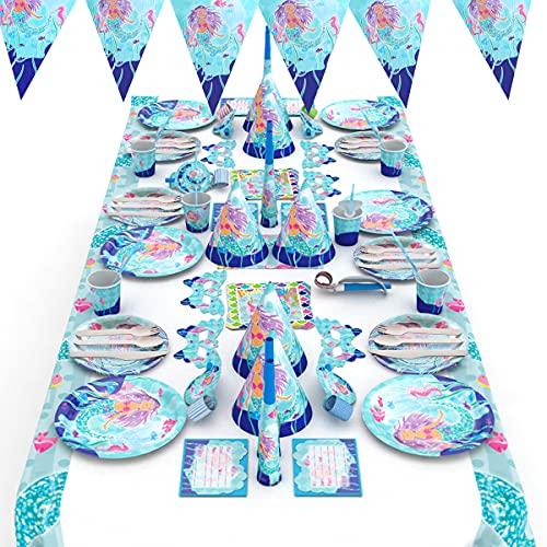 Himeland Jetables de Table-Décoration Fête d'Anniversaire, Unique de Fête à Thème de Sirène Kit, Vaisselle jetable kit de Fête