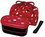japanese 2 tiers bento lunch box with belt, bag chopsticks, red blossom and bunny by skater